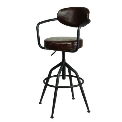Drehbarstuhl Vintage industrial gepolstert braun