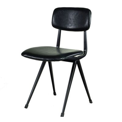 Vintage Design Stuhl Schwarz Fabrikschick gepolstert
