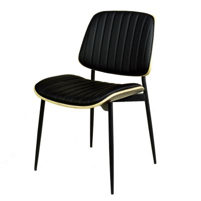 Stuhl schwarz gepolstert Vintage Design